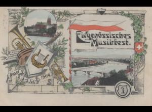 Schweiz: 1909: Ansichtskarte Basel Musikfest