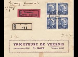 Schweiz: 1933: Eilbote, Einschreiben, Payerne nach Versoix