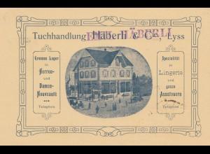Schweiz: 1908: Besuchsanzeige Lyss, Tuchhandlung