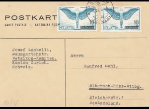 Schweiz: 1938: Postkarte Wetzikon-Kempten nach Biberach