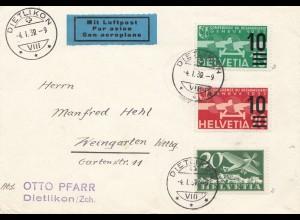 Schweiz: 1939: Dietlikon nach Weingarten, Luftpost