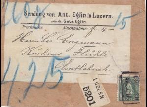 Schweiz: 1937: Luzern als Nachnahme-Drucksache nach Entlebuch, Adressteil