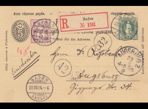 Schweiz: 1894: Einschreiben Ganzsache Baden nach Augsburg, mit Antwortkarte
