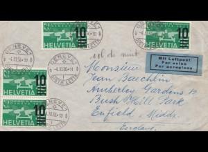 Schweiz: 1936: Luftpost Genf nach Enfield, England