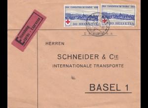 Schweiz: 1940: Eilbote Basel, Vignette Füs. Bat. 23, Aktivdienst