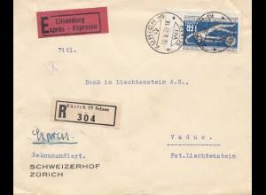 Schweiz: 1933: Einschreiben Eilboten Zürich nach Vaduz