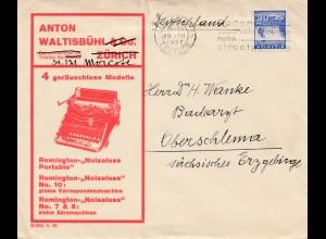 Schweiz: 1937: Luzern nach Oberschlema, Schreibmaschinen