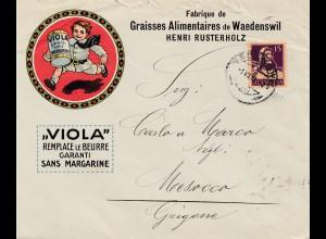 Schweiz: 1918: Waedenswil nach Mesocca, Margarine, Viola