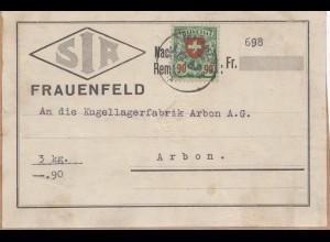 Schweiz: Frauenfeld, Adressfeld nach Arbon