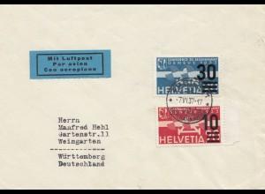 Schweiz: 1937: Luftpost Zürich nach Weingarten