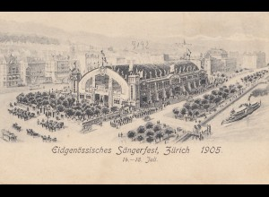 Schweiz: 1905: Zürich, Basel, Ansichtskarte Sängerfest