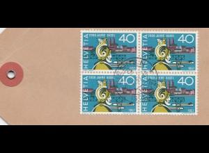 Schweiz: 1957: Paketanhänger Siebnen, Zustellgebühr bezahlt