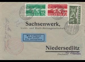 Schweiz: 1933: Flugpost Bern nach Niedersedlitz, Flughafen Halle
