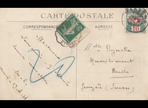Schweiz: 1914: Ansichtskarte Mers