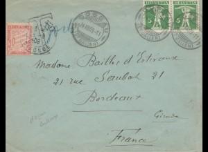 Schweiz: 1909: Gossau nach Frankreich, Nachgebühr
