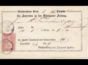 Schweiz: 1859: Insertion in der Thurgauer Zeitung, Frauenfeld