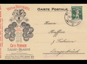 Schweiz: 1916: Vins de Neuchatel, Saint Blaise nach Langenbrück