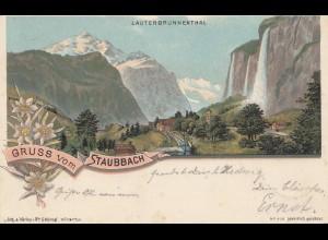 Schweiz: 1898: Gruss vom Staubach, Ansichtskarte, Lauterbrunnenthal