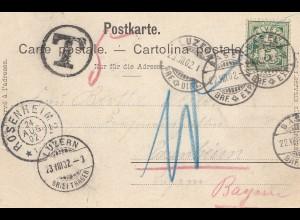 Schweiz: 1902: Ansichtskarte Basel nach Luzern/Rosenheim