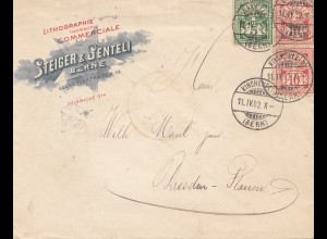 Schweiz: 1902: Kirchenfeld nach Dresden, Litho Druck