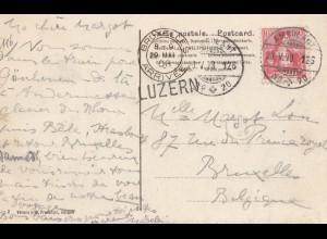 Schweiz: 1908: Ansichtskarte Verona aus Luzern nach Brüssel