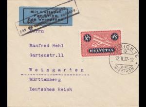Schweiz: 1937: Flugpost Zürich nach Weingarten, kein Fluganschluss