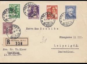 Schweiz: 1934: Einschreiben Oberbüren nach Leipzig