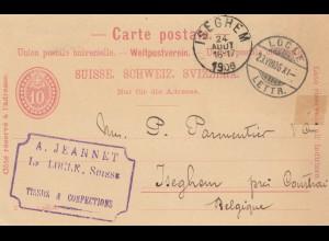 Schweiz: Ganzsache: 1906 Locle nach Isghem/Belgien