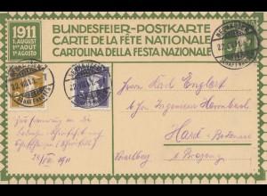 Schweiz: Ganzsache: 1911: Neuhausen, Bundesfeier