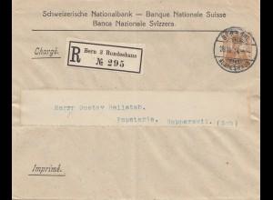 Schweiz: Ganzsache: 1914: Bern Bundeshaus, Drucksache nach Rapperswil