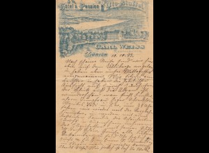 Schweiz: Ganzsache: 1893: Ansichtskarte Zürich nach Bückeburg