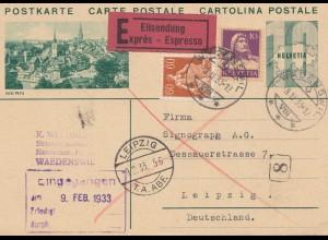 Schweiz: Ganzsache: 1933: Eilboten Waedenswil nach Leipzig