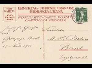 Schweiz: Ganzsache: 1915: nach Basel