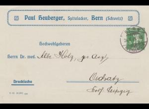 Schweiz: Ganzsache: 1909: Bern nach Oschatz, Drucksache