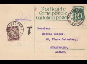Schweiz: Ganzsache: 1925: Neuchatel nach Strassburg, Nachgebühr