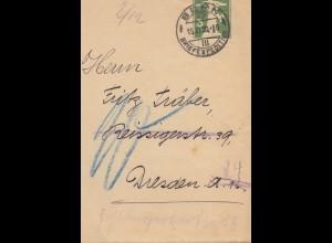 Schweiz: Ganzsache: 1920: Bern Streifband nach Dresden