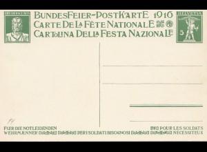 Schweiz: Ganzsache: 1916: Bundesfeier Postkarte