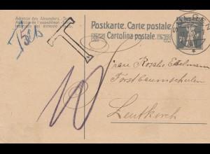 Schweiz: Ganzsache: 1920: Sulgen nach Leutkirch, Nachgebühr