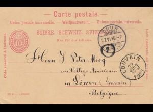 Schweiz: Ganzsache: 1896: Chur nach Louvain/Belgien
