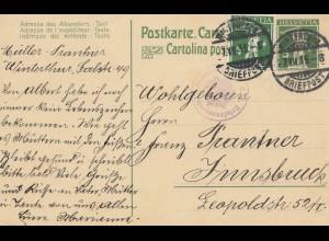 Schweiz: Ganzsache: 1915: Winterthur nach Innsbruck