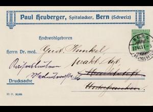 Schweiz: Ganzsache: 1911: Bern als Drucksache