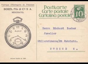 Schweiz: Ganzsache: 1927: Neuchatel, Horlogerie nach Zürich