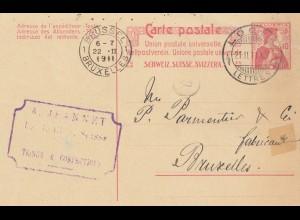 Schweiz: Ganzsache: 1911: Locle nach Brüssel