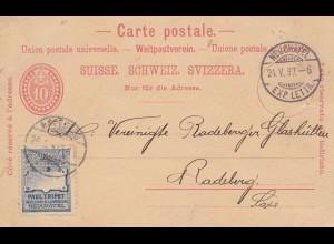 Schweiz: Ganzsache 1897: Neuchchatel nach Radeberg