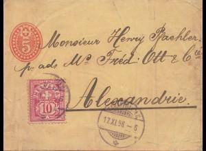 Schweiz: Ganzsache 1896: Nach Alexandria