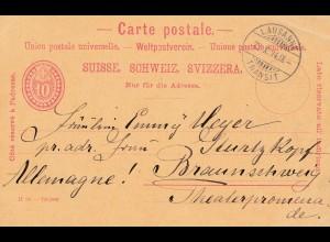 Schweiz: Ganzsache 1894: Lausanne nach Braunschweig