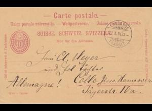 Schweiz: Ganzsache 1894: Lausanne nach Celle