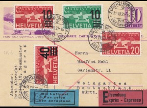 Schweiz: Ganzsache: 1937: Zürich als Eilboten/Luftpost nach Weingarten