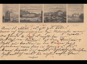 Schweiz: Ganzsache: 1892: Ansichtskarrte Lugano nach Rostock