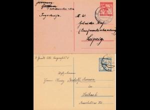 Serbien: 4x Ganzsache um 1920, gelaufen